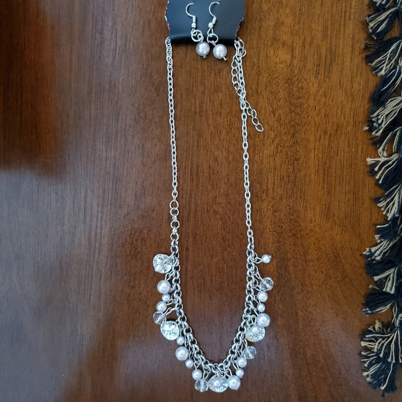 Silver pearl and disc necklace